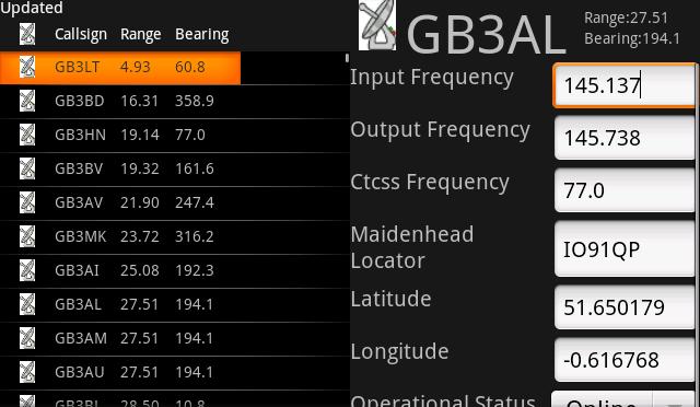 M3OYQ Repeater Range Screen Shots